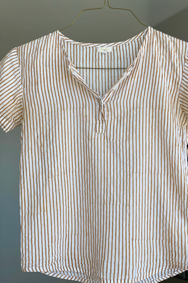 Women's Gold Stripe Henley - aryanaclothing