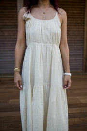 The Rose A-Line Dress in Cream Lurex - aryanaclothing