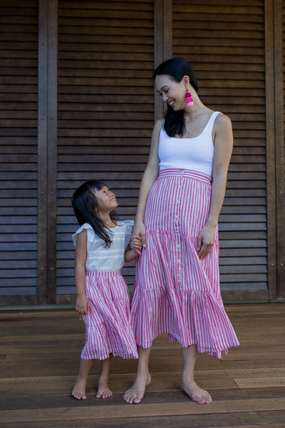 The Amelia Skirt in Carnation Stripes - aryanaclothing