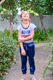 Girls Indigo Palm Joggers - aryanaclothing