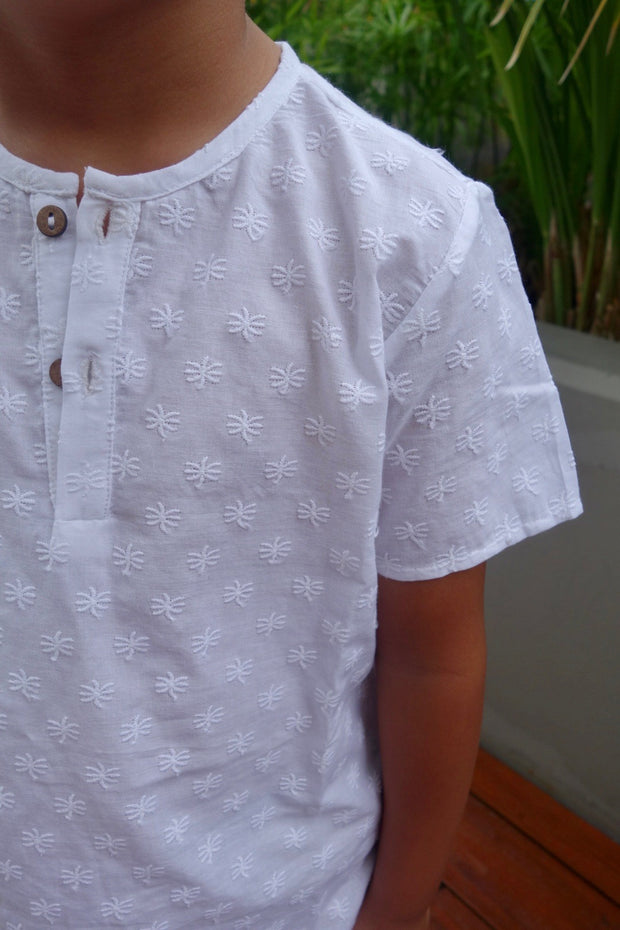 Kids White Palm Embroidered Henley - aryanaclothing