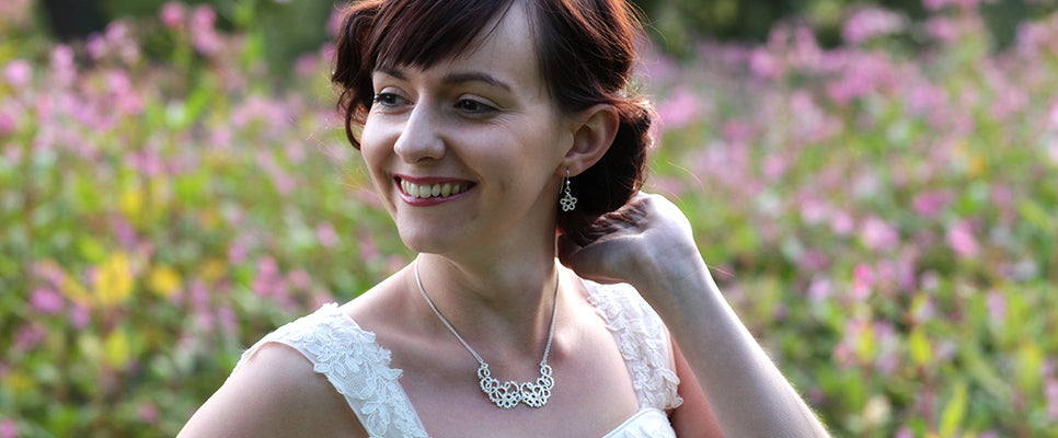 Silver lace bridal jewellery, by Ruth Mary