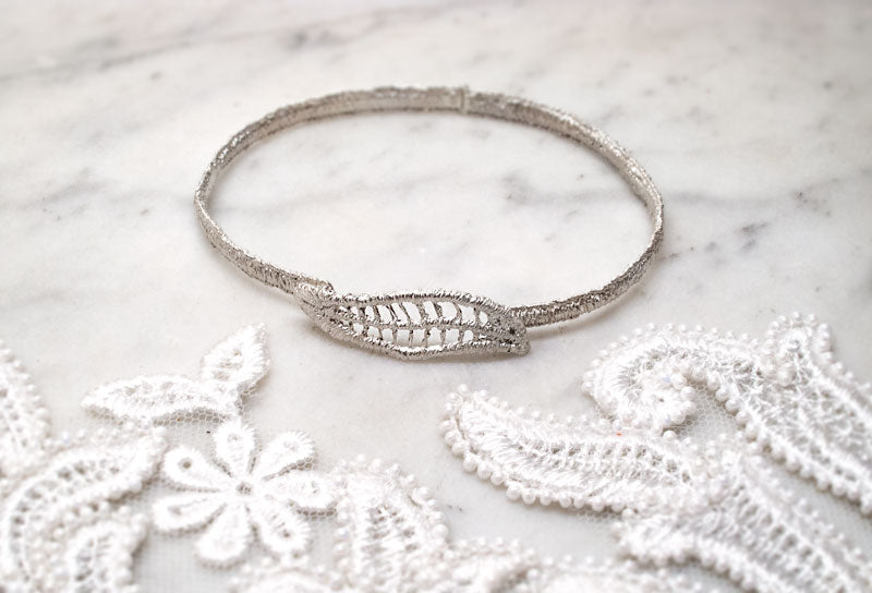 Silver lace bridal jewellery