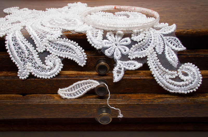 Hand-embroidered wedding lace