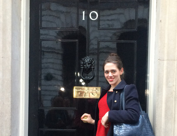 Ruth Mary, designer of silver lace jewellery, visits Number 10 Downing Street