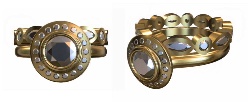 3D rendering of bespoke engagement and wedding rings