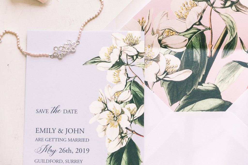 Pearls and florals jewellery and wedding invitations