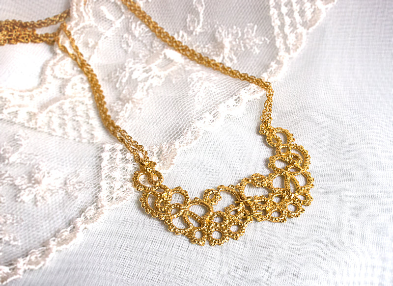 Gold bridal necklace by Ruth Mary Jewellery