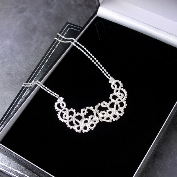silver lace bridal necklace