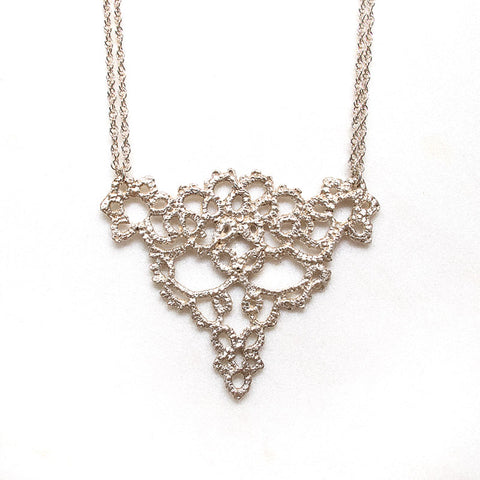 filigree silver lace necklace