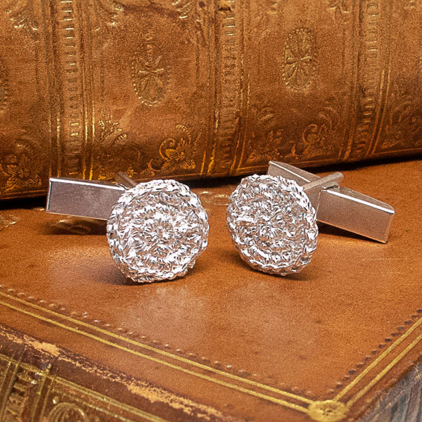 Stitched In Silver Cufflinks