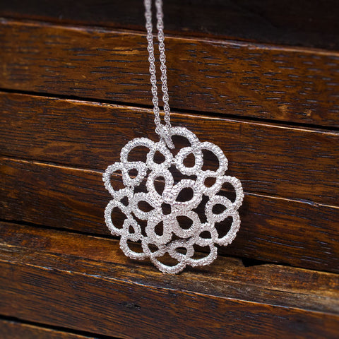 Cupola Handmade Silver Lace Necklace
