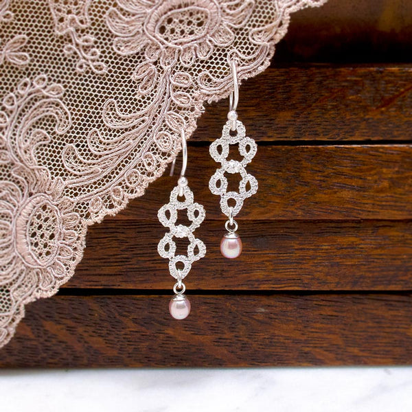 Bridal Jewellery - pearl silver lace filigree earrings