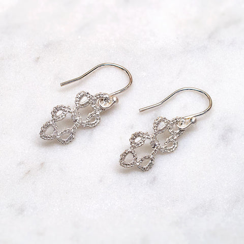 Entwined Handmade Silver Lace Earrings