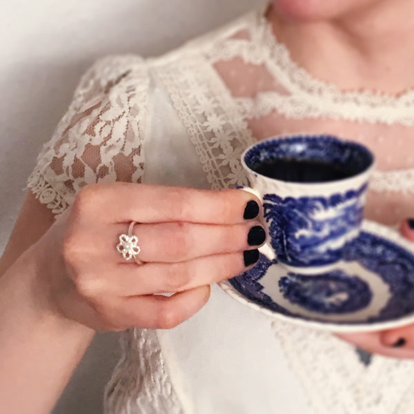 Forget-Me-Not Pearl Ring