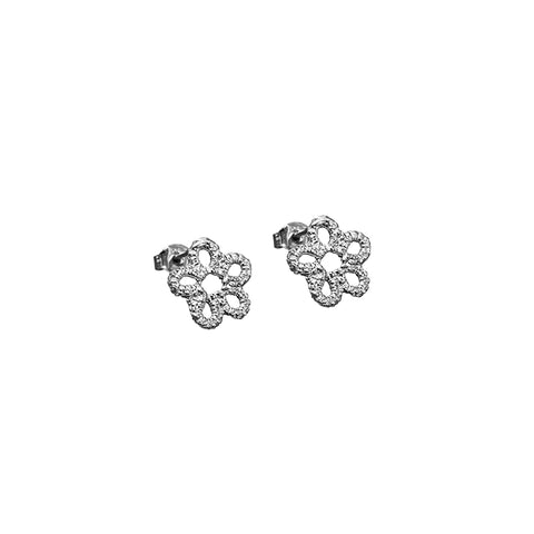 Silver lace flower stud earrings