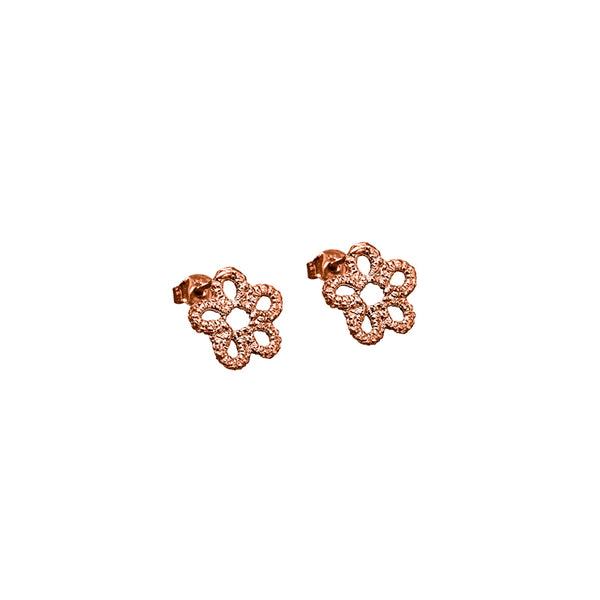 Rose gold lace flower stud earrings