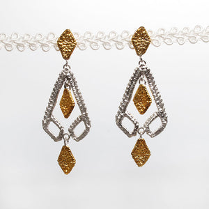 gold and silver two tone art deco earrings