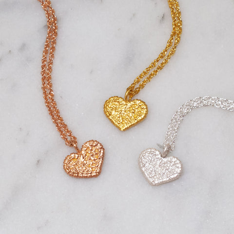 mini heart necklace gold, rose gold, silver lace