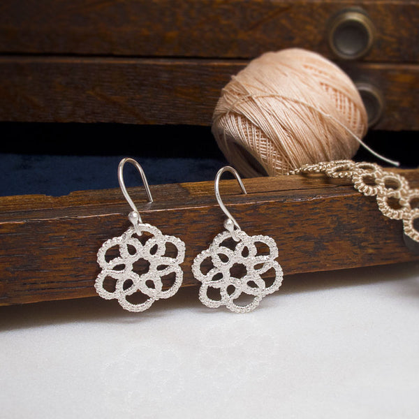 mandala silver lace earrings