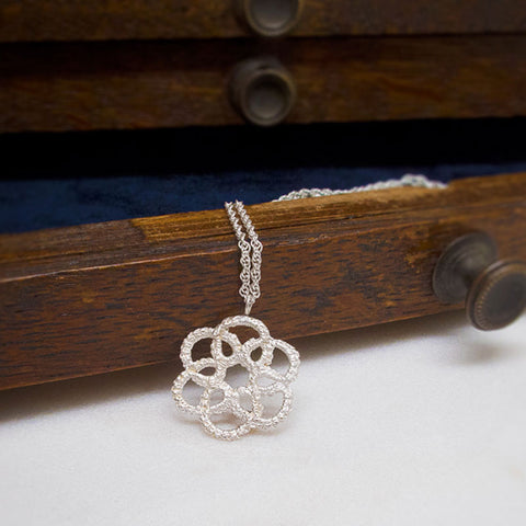 Mandala Handmade Silver Lace Necklace