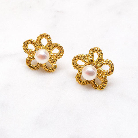 Forget-Me-Not Pearl Studs
