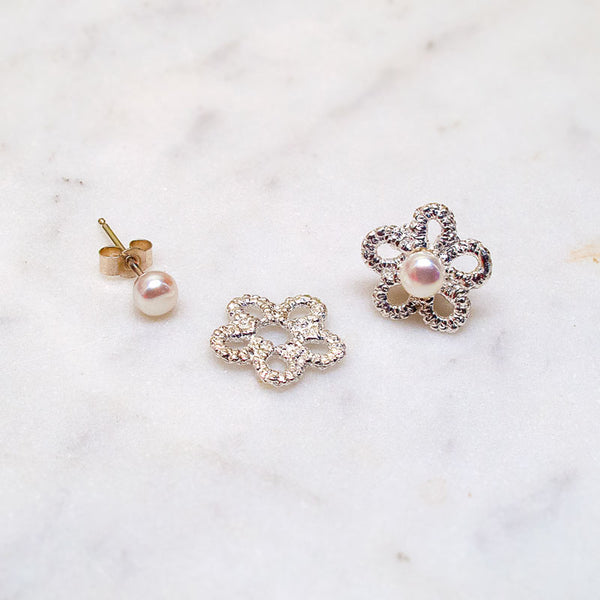 delicate flower silver lace studs