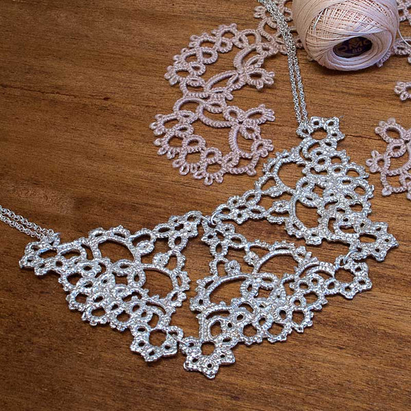 ornate filigree silver lace necklace