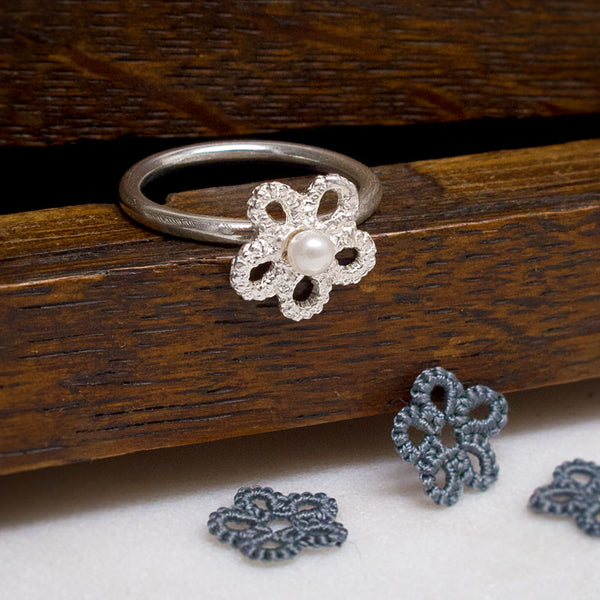 forget me not silver lace ring with freshwater pearl