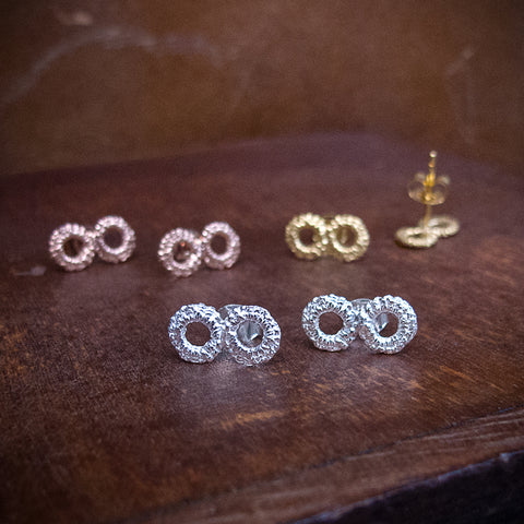 Infinity Handmade Silver Lace Studs