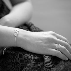 Sterling silver textured lace flower bracelet, by Ruth Mary Jewellery