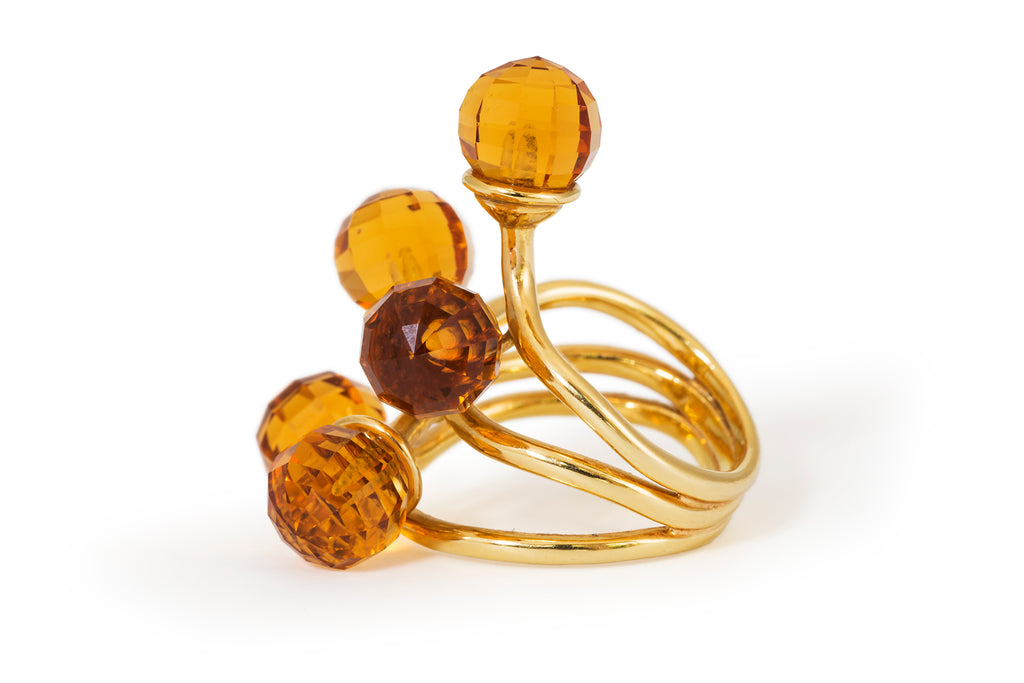 Organic Citrine Ball Ring