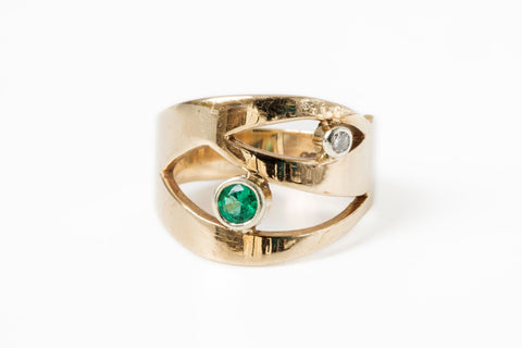 Emerald Eye Diamond Dress Ring