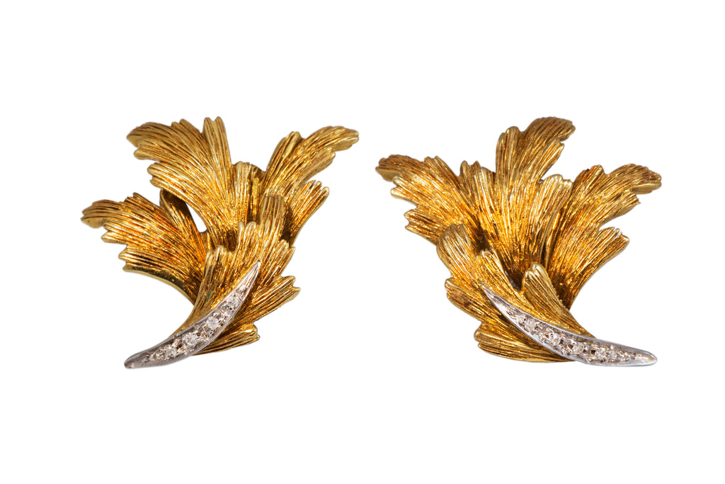 Gold and Diamond Leaf Ear Clips
