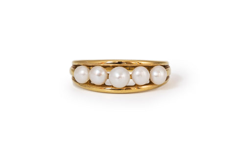 Five Pearl Vintage Gold Ring