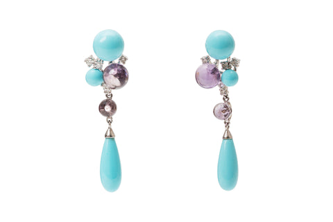 Turquoise and Amethyst Earrings
