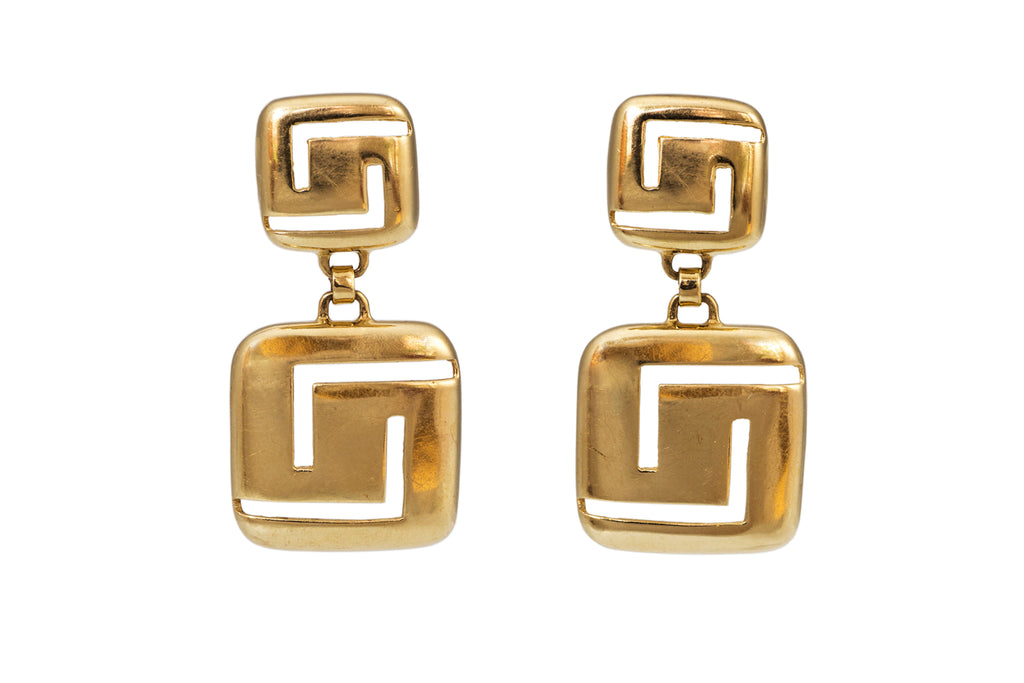 Vintage Gold Double Square Earrings