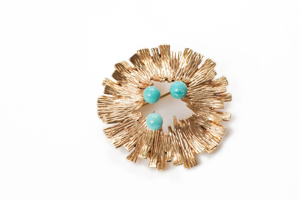 Modernist Gold and Turquoise Brooch