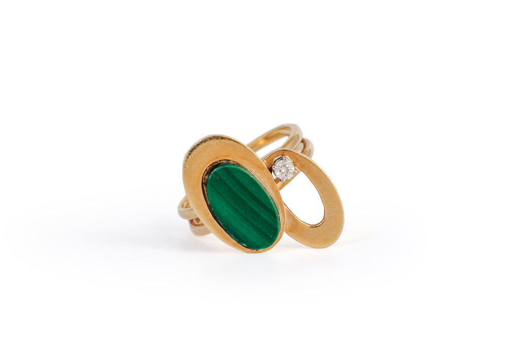 Modernist Malachite and Dianond Ring