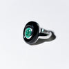 Columbian Emerald and Onyx Ring, 18 Carat White Gold, Made in Italy