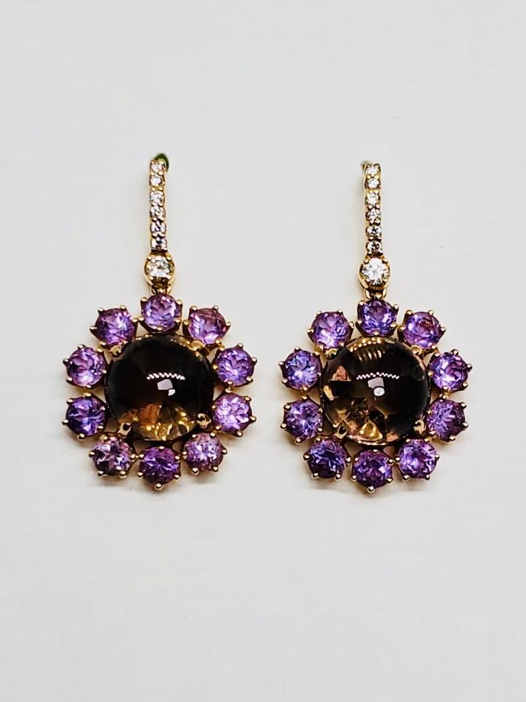 Smokey Topaz, Amethyst and Diamond Ear Pendants
