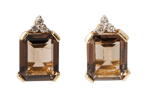 Princess Smokey Quartz and Diamond Earrings