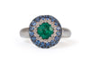 Emerald, Ceylon Sapphire and Diamond Dress Ring