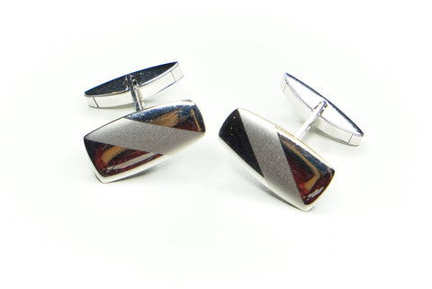 Modernist White Gold Cuff Links