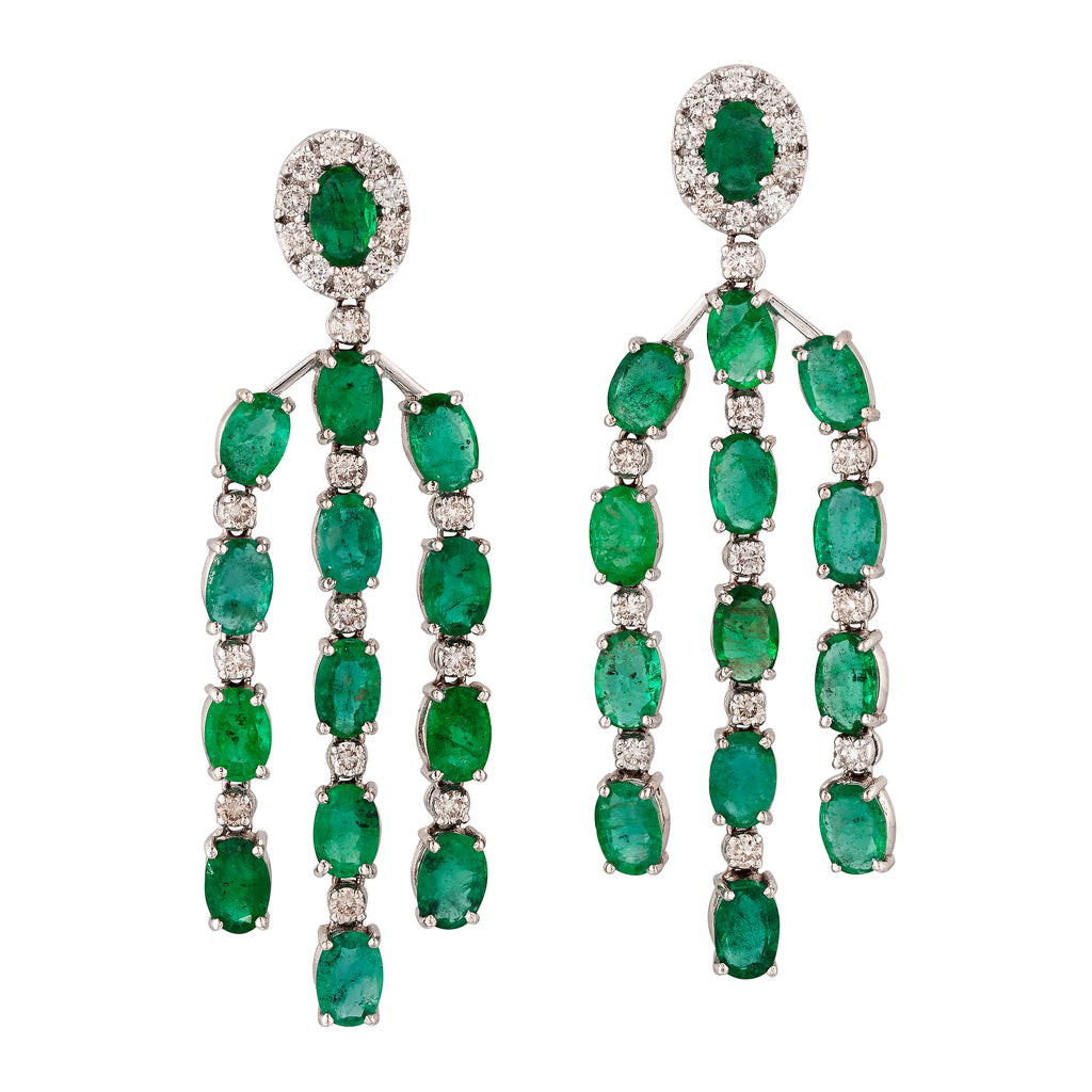 Emerald and Diamond Chandelier Earrings, 18 Carat  White Gold