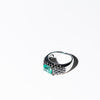 Columbian Emerald and Black Diamond RIng, 18 Carat White Gold, Made in Italy