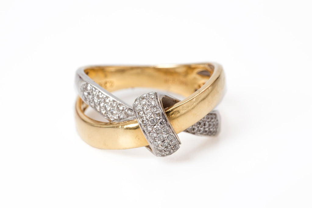 Double Gold and Diamond Knot Ring
