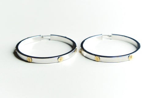 Hoop Earrings with Gold Screw Motif