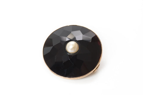 Pearl and Onyx Brooch