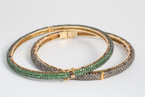 Diamond and Tsavorite Bangle
